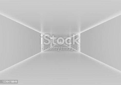 949309726 istock photo White color corridor 3d render 1226478849