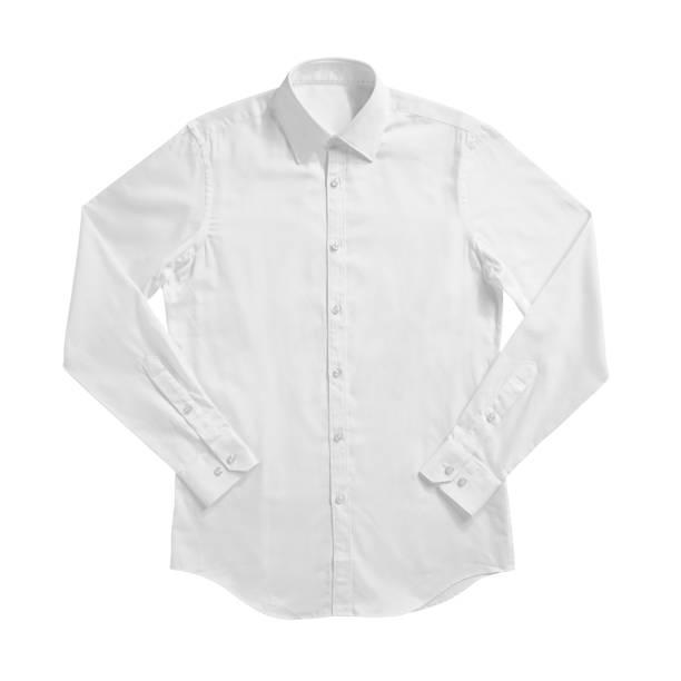 camisa formal da cor branca com a tecla abaixo do colar isolada no branco - camisa - fotografias e filmes do acervo