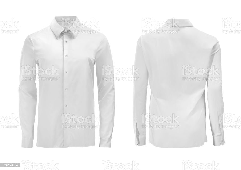 White color formal shirt with button down collar isolated on white royalty-free stock photo