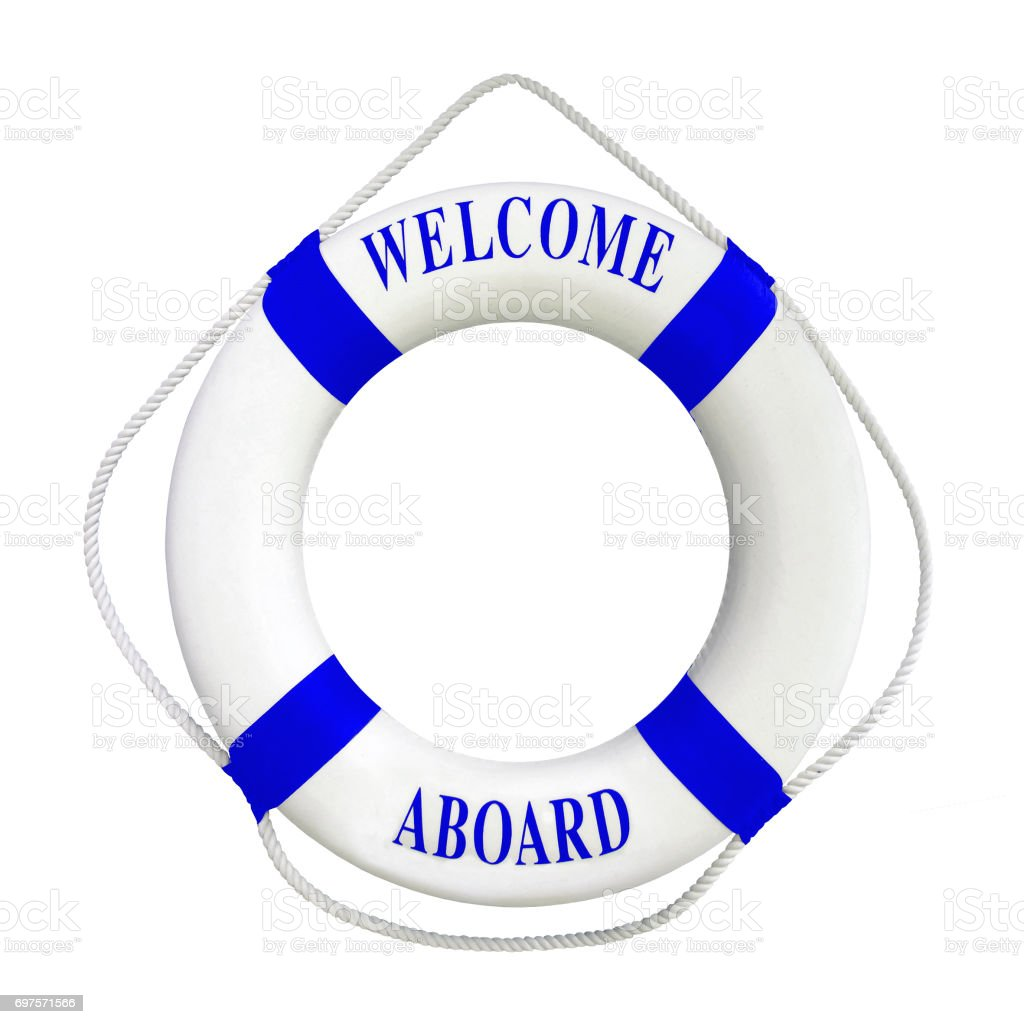6a5fc41a3d33 White color Life buoyancy with blue stripes and text welcome aboard on  it.Isolated on white background with clipping path work. - Stock image .
