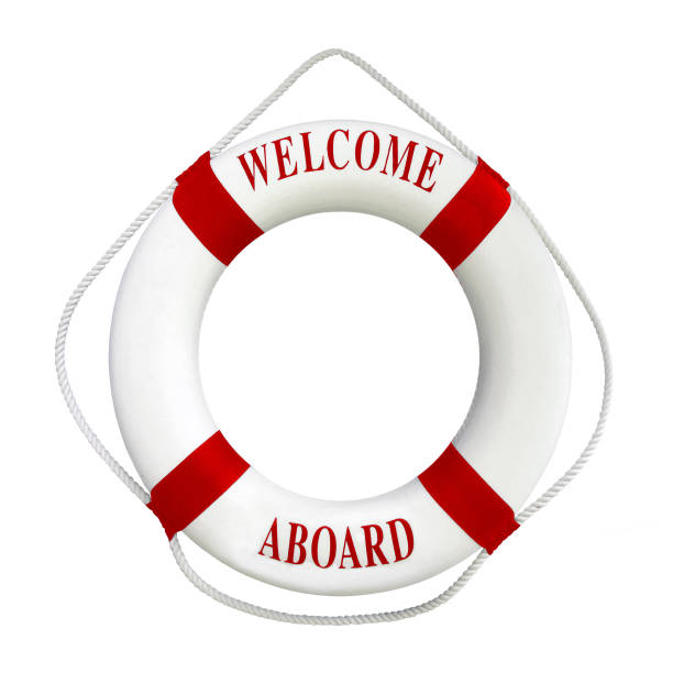 White color Life buoyancy with red stripes and text welcome aboard on it.Isolated on white background with clipping path work. White color Life buoyancy with red stripes and text welcome aboard on it. Perfect for greeting concept.Isolated on white background with clipping path work. aboard stock pictures, royalty-free photos & images