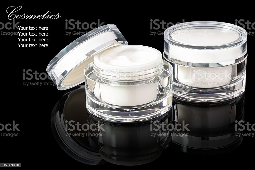 White colored blank cosmetic container for face cream moisturize stock photo