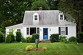 istock White colored house with blue door 155283916