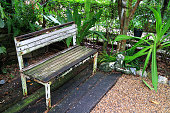 istock White colored old wooden bench in the garden 842596974