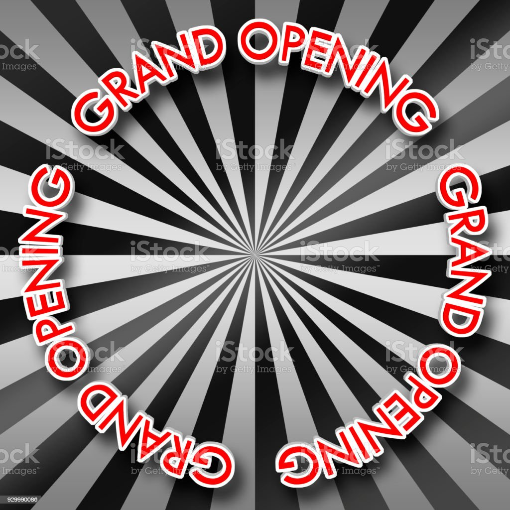 White Colored Text: Grand Opening, Red Colored top, 3D Illustration, Bright Against the Background, Copy Space, Announcement Template. stock photo
