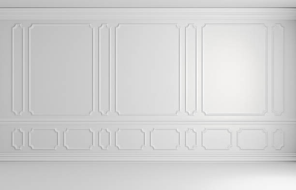 white colorless wall in classic style empty room architectural b - classical style stock photos and pictures