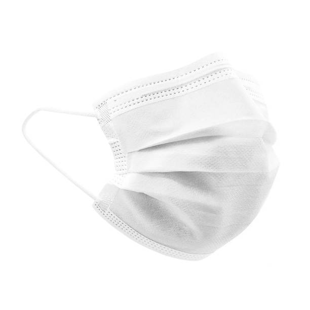 White colour high density 3 ply non woven disposable surgical face mask with elastic ear loops isolated on white background. Eliminates bacteria & pollen. Studio photography for mock up & commercial. flatten the curve stock pictures, royalty-free photos & images