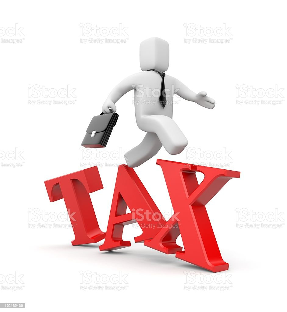 White comic man walking on red tax sign stock photo