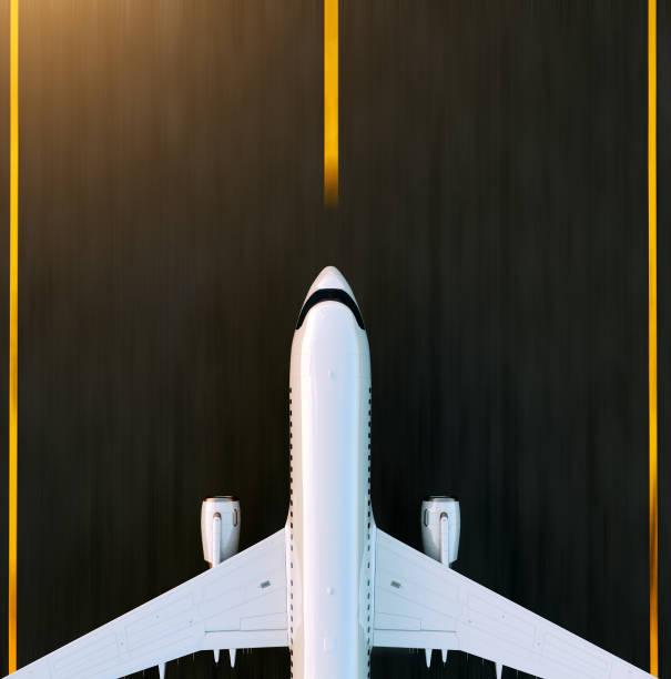 Weißen kommerziellen Flugzeug auf der Landebahn des Flughafens bei Sonnenuntergang ausziehen. Passagierflugzeug nimmt ab. Flugzeug-Konzept 3D Illustration. – Foto
