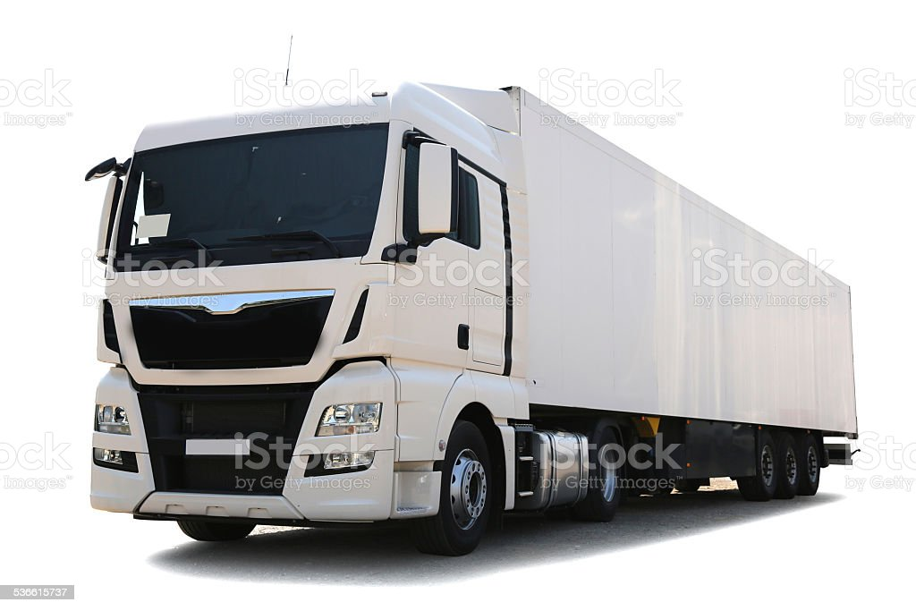 White Commercial Land Vehicle stock photo