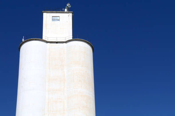 white community co-op cooperative agricultural farm feed grain and corn silo building against a blue sky in rural heartland america perfect for industry farming and commercial agriculture marketing stock photo