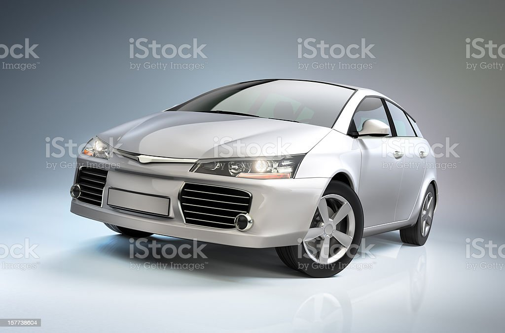 White compact car stock photo