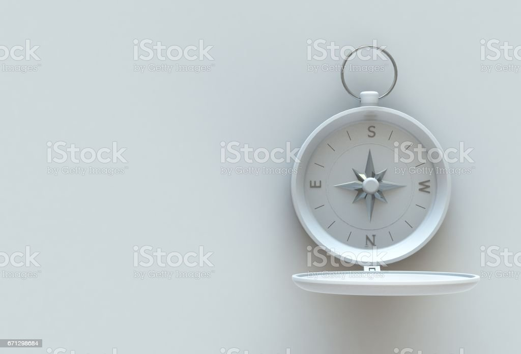 White compass isolated on white table, 3D rendering stock photo