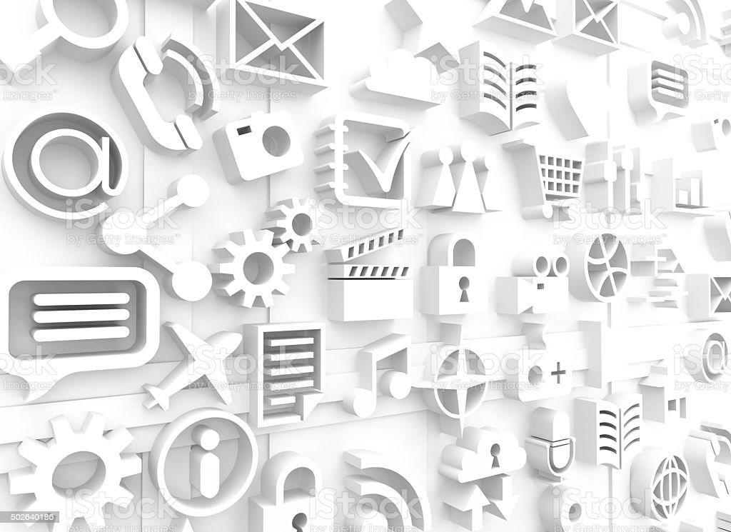 White computer icons and symbols stock photo