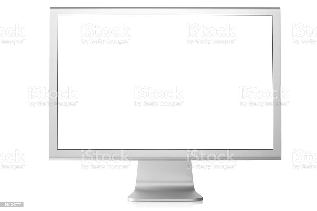 White computer monitor isolated on white royalty-free stock photo