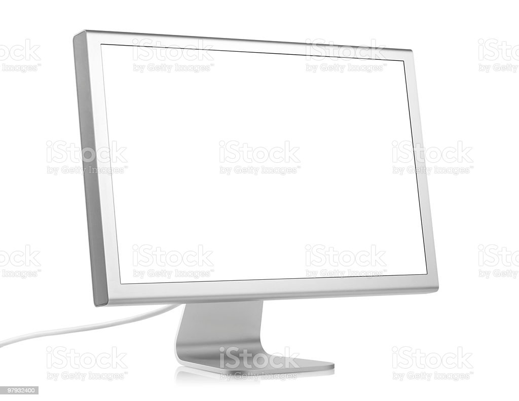 White computer monitor on blank screen royalty-free stock photo