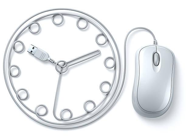 Weiß computer-Maus Kabel Uhr – Foto