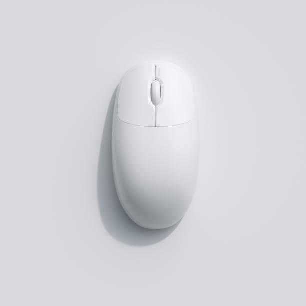 Eine weiße Computermaus auf weißem Hintergrund. Ansicht von oben flach legen minimal Konzept. – Foto