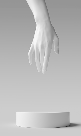 White concept cosmetic podium hand elegant gesture. Mannequin hand sculpture display jewelry showcase 3d rendering.