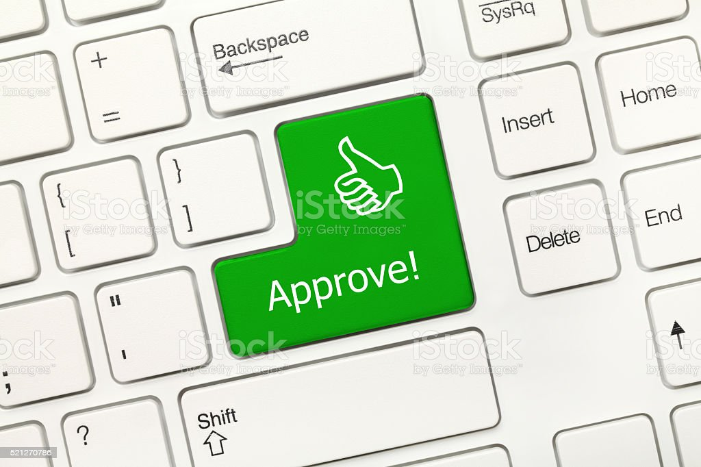 White conceptual keyboard - Approve (with thumb up symbol) stock photo