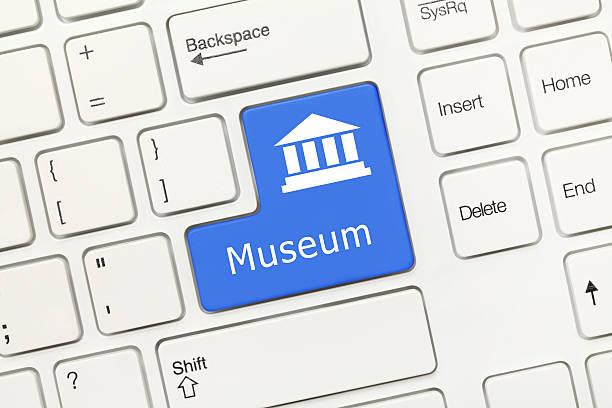 Weißen konzeptionelle Tastatur-Museum (blue key – Foto