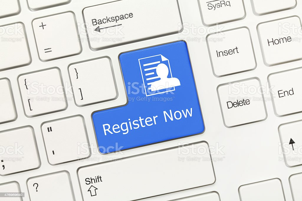 White conceptual keyboard - Register Now (blue key) stock photo