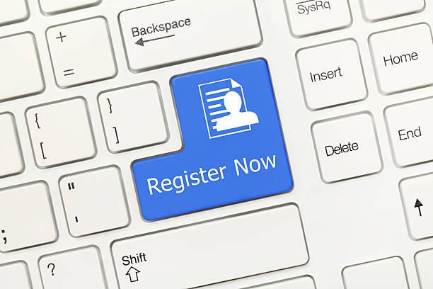 Weißen konzeptionelle Tastatur-Jetzt registrieren (blue key – Foto