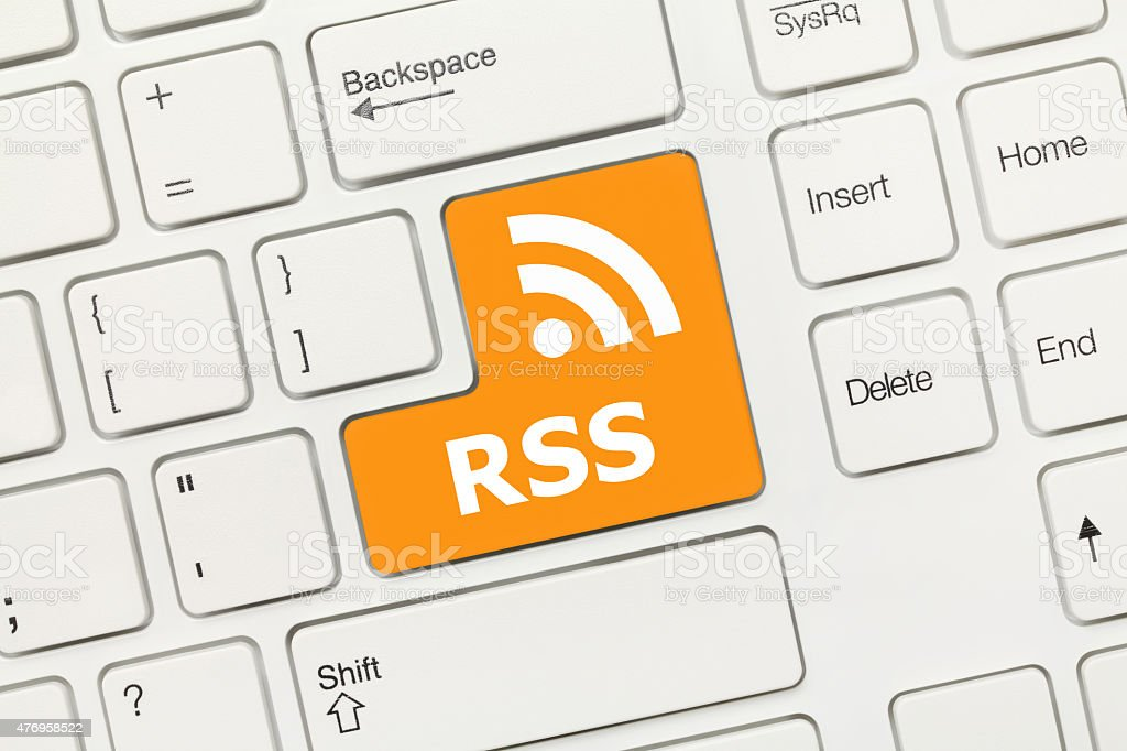 White conceptual keyboard - RSS (key with logotype) stock photo