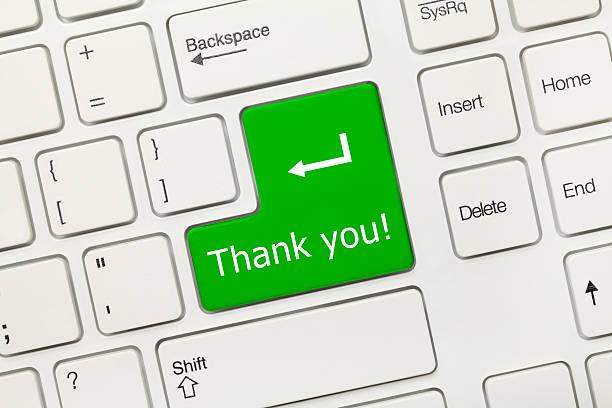 Weißen Konzeptionelle Tastatur-danke (green key) – Foto