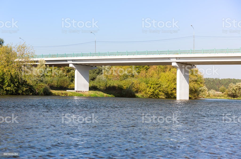 White concrete bridge stock photo