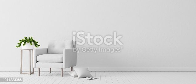 white concrete wall with white modern furniture, minimal interior design, 3d render, 3d illustration