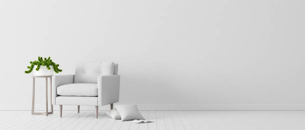 white concrete wall with white modern furniture, minimal interior design, 3d render white concrete wall with white modern furniture, minimal interior design, 3d render, 3d illustration armchair stock pictures, royalty-free photos & images