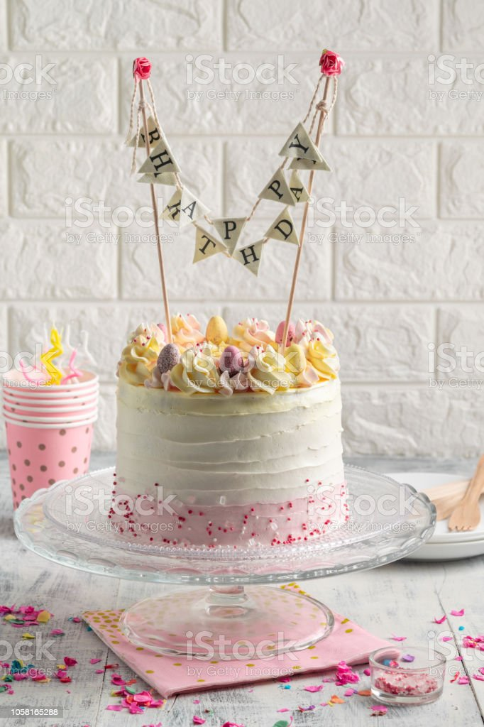 Pleasant White Confetti Birthday Cake With Sprinkles And Colorful Bunting Funny Birthday Cards Online Elaedamsfinfo