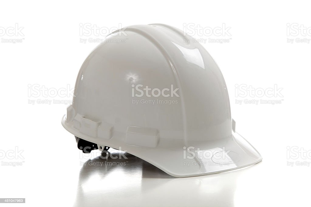 White construction workers hard hat stock photo
