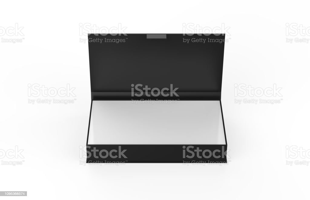 White contact business cards in the open cardboard box, clean mockup template with free copy space for design or advertising, 3d illustration stock photo