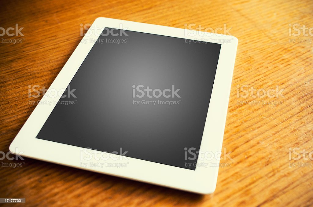 White contemporary digital tablet with blank screen royalty-free stock photo