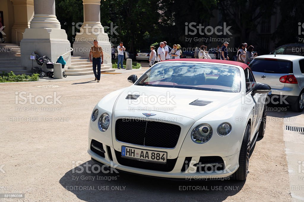 White Continental GT in Nice, France stock photo