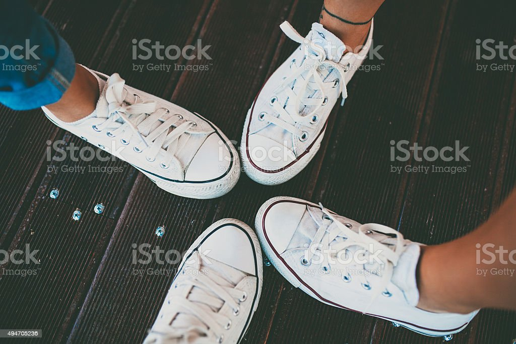 White converses best friends stock photo