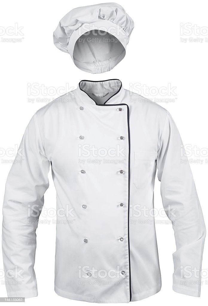 white cook suit with a hat stock photo