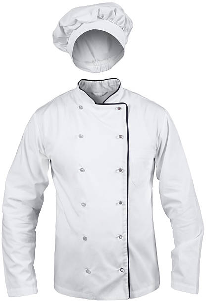 white cook suit with a hat white male cook suit with a hat isolated on white background coat garment stock pictures, royalty-free photos & images