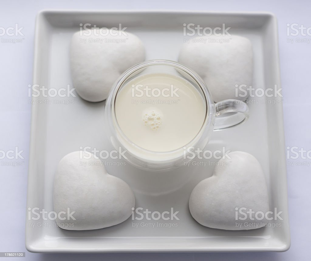 white cookies in the shape of a heart royalty-free stock photo
