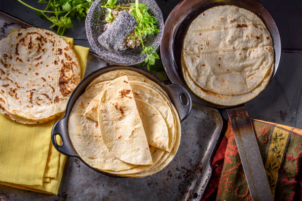 White Corn Tortilla stock photo