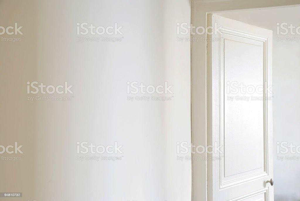 White corridor and open door royalty-free stock photo