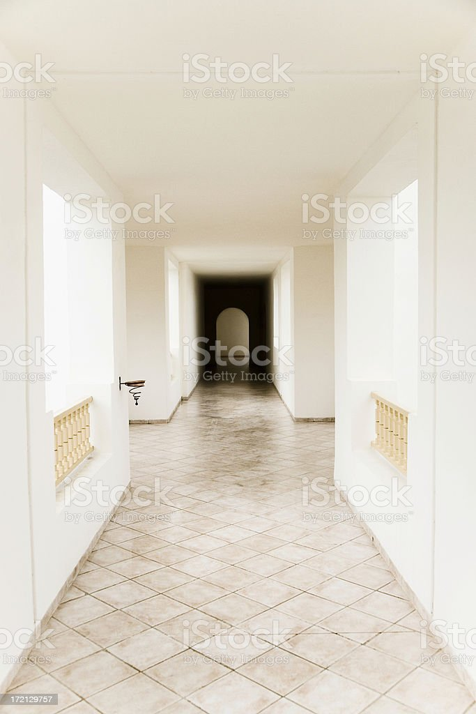white corridor architecture royalty-free stock photo