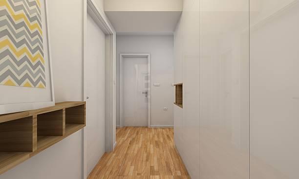 white corridor design - dielenkommoden stock-fotos und bilder