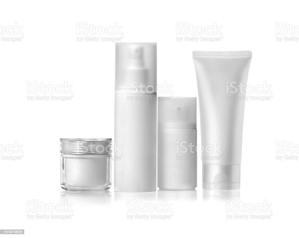 Branco recipientes maquiagem - foto de acervo