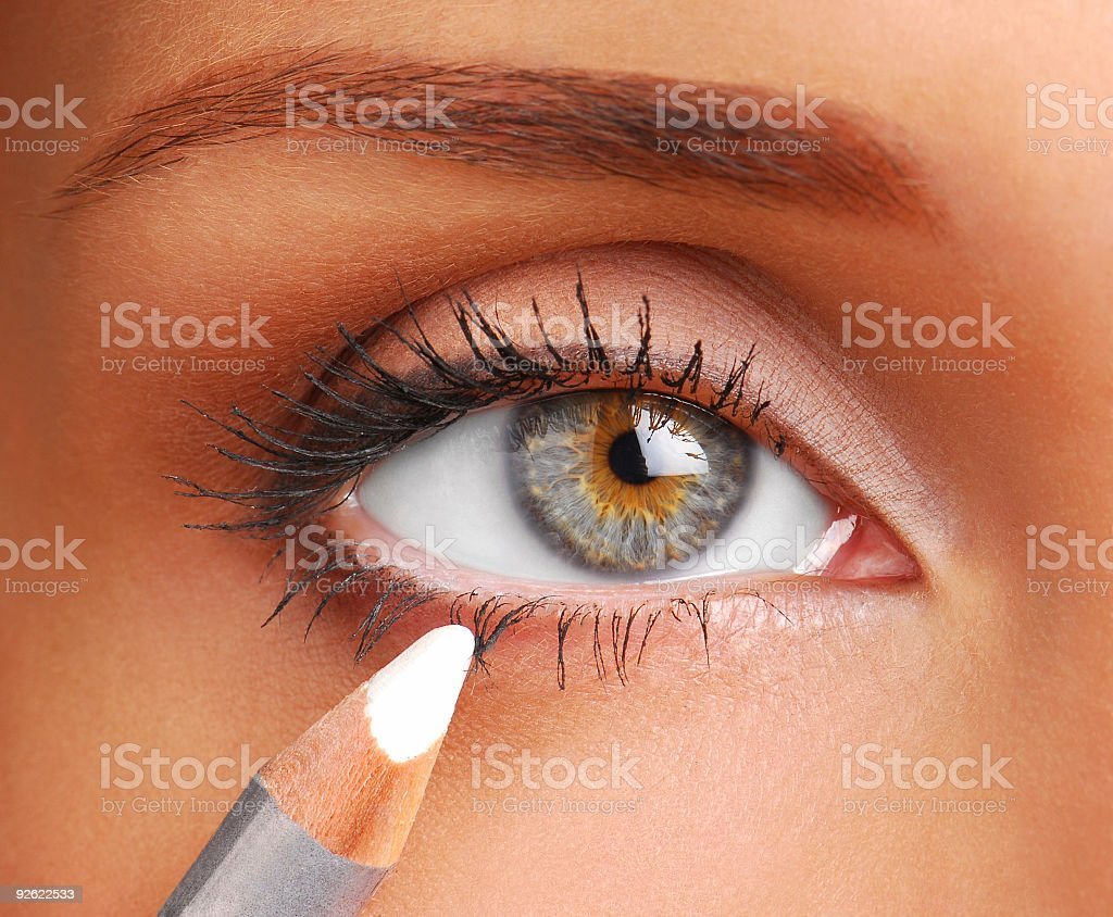 White Cosmetic pencil. stock photo