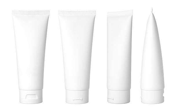 white cosmetic tube - tube stock pictures, royalty-free photos & images