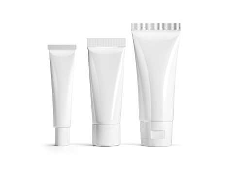 White cosmetic package set isolated on white background