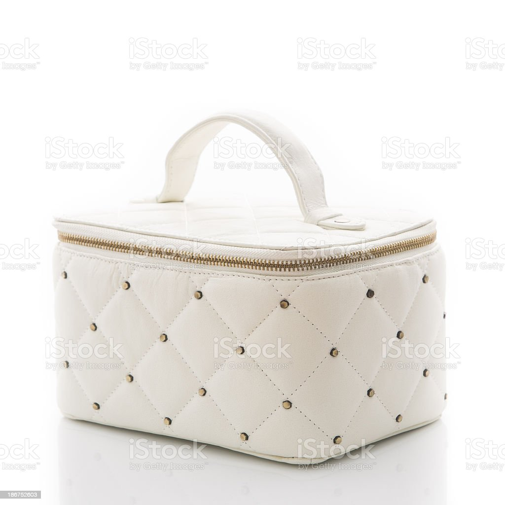 White cosmetics bag stock photo